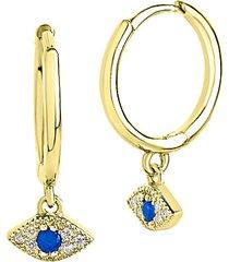 14k goldplated sterling silver & cubic zirconia evil eye huggie hoop earrings