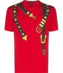 versace belt-print cotton t-shirt - red
