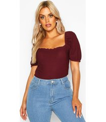 plus shirred cap sleeve square neck t-shirt, berry