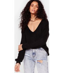 womens 'til v work it out knitted sweater - black