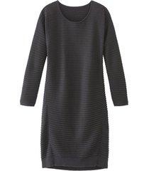 stylisch gebreide ribbeljurk met bio merino-wol, zwart 34