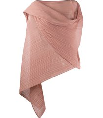 pleats please issey miyake micro-pleated wrap tunic - pink