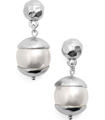 karine sultan imitation pearl drop earrings in silver at nordstrom