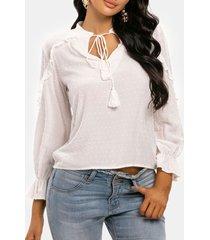 swiss dot tassel frilled long sleeve blouse