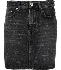 balenciaga logo-print denim skirt