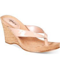style & co chicklet wedge thong sandals, created for macy's women's shoes