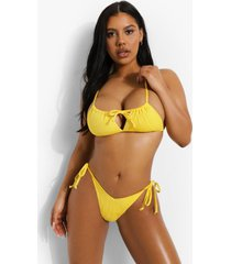 mix & match gekreukeld bikini broekje met zijstrikjes, yellow