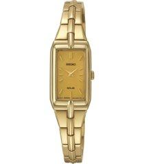seiko women's solar gold-tone stainless steel bracelet watch 15mm sup276