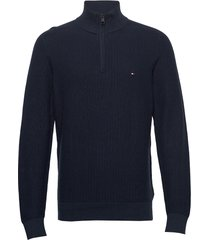 bold textured cotton zip mock knitwear half zip jumpers blå tommy hilfiger