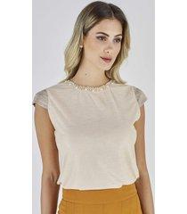 t-shirt celestine off-white com bordado
