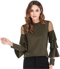 nuevo y pequeño soporte para mujer con cuello redondo, manga de trompeta, camiseta-verde