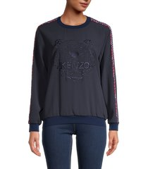 kenzo women's fishnet tiger crepe top - midnight blue - size xs