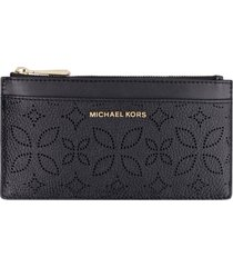 michael michael kors logo detail leather card holder