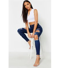 high waisted distressed skinny jeans, dark blue