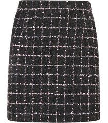 alessandra rich checked tweed boucle skirt