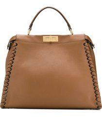 fendi pre-owned peekaboo lace-up tote - brown