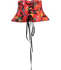 philosophy di lorenzo serafini abstract-print peplum corset belt - red