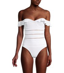 ruffle off-the-shoulder one-piece swimsuit
