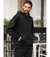 sudadera con capucha de manga larga con bolsillo de canguro informal para hombre