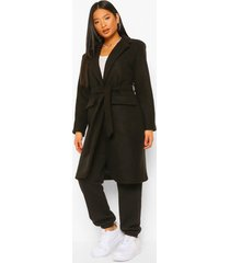 petite nepwollen jas met ceintuur en knopen, black