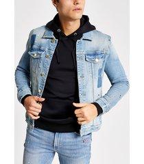 river island mens blue paint splat muscle fit western jacket