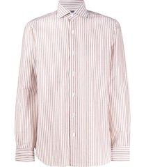 barba spread-collar striped shirt - brown