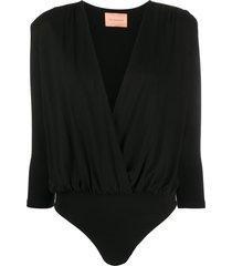 andamane deep-v neck bodysuit - black