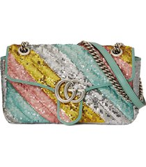 gucci gg marmont sequinned shoulder bag - silver