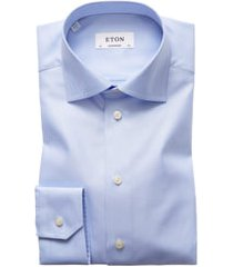 men's big & tall eton contemporary fit cavalry twill dress shirt, size 18 - blue