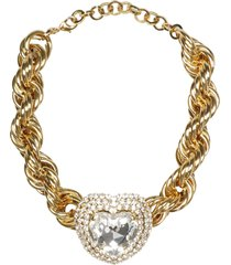 alessandra rich gold toned choker whit crystal heart