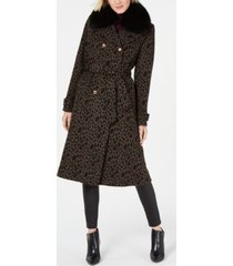 1 madison expedition leopard-printed fox-fur-collar coat