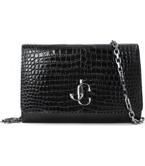 jimmy choo black shiny croc-embossed leather clutch bag