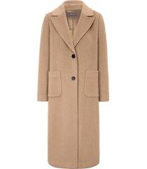 lange jas met reverskraag en lengtedeelnaden van basler bruin