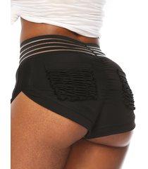 shorts negros super elásticos fruncidos