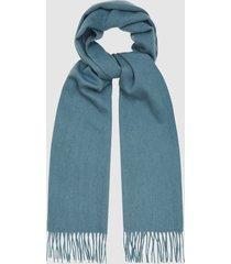 reiss ashton - lambswool cashmere blend scarf in teal, mens