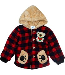 jaqueta casaco manabana infantil grossa com pelucia vermelha