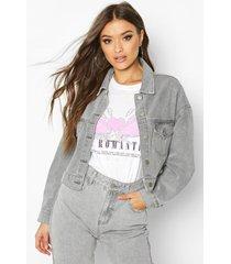cropped jean jacket, grey