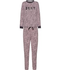 dkny name drop top & jogger set pyjamas rosa dkny homewear