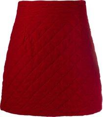 l'autre chose quilted velvet mini skirt - red