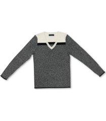karen scott cotton colorblocked v-neck sweater, created for macy's