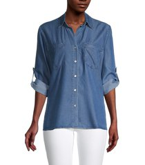 heroes & dreamers women's 2-pocket rolled top - medium wash - size xs