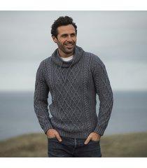 mens atlantic blue aran sweater small