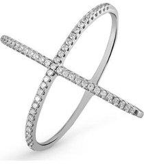 anel de prata duplo x cravejado de zircônia - feminino