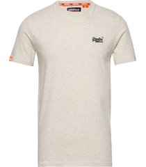 ol vintage embroidery tee t-shirts short-sleeved creme superdry