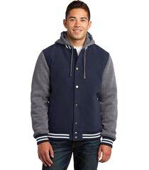 sport-tek jst82 mens insulated letterman jacket - true navy/vintage heather