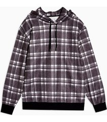 mens black and white brushed check hoodie