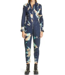 women's stella mccartney bleach tie dye stretch organic cotton denim crop jumpsuit, size 2 us - blue