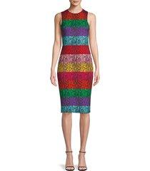 alice + olivia women's colorblock sheath dress - red multi - size 0