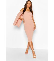 bandeau cape midi dress, pink