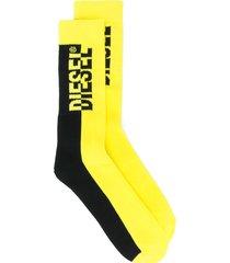 diesel terry two-tone logo socks - yellow